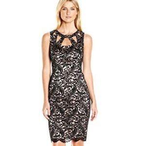 Eliza J Black Lace Sheath Dress Sleeveless Cut Out